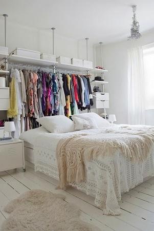 Inventive clothes rail - http://pinterest.com/pin/336151559656698183/