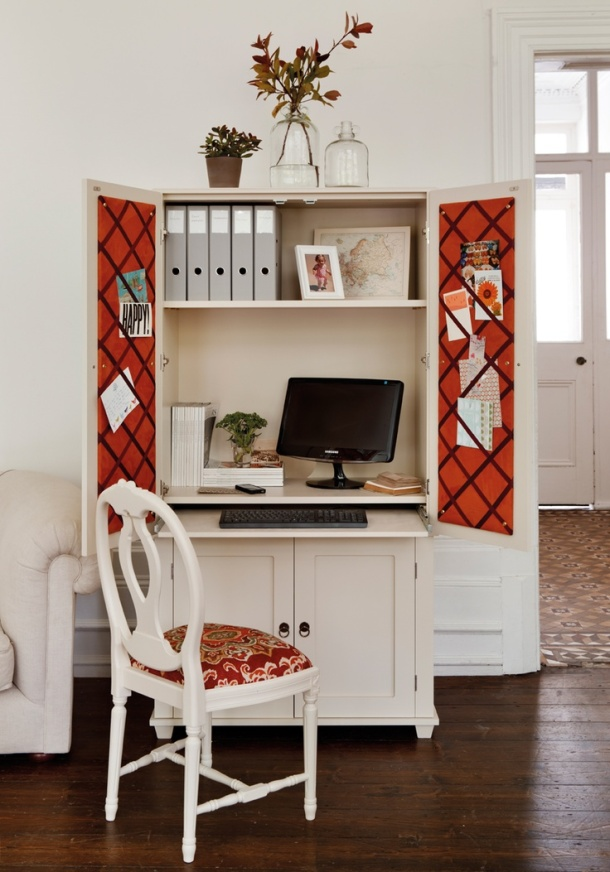 hide a home office in an armoire