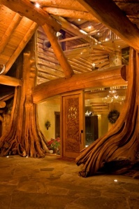Using nature - http://www.cowboysindians.com/Blog/December-2012/Home-For-The-Holidays-A-Log-Cabin-For-Christmas/