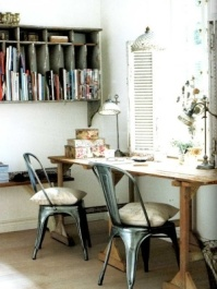 Rustic chic - http://indulgy.com/search/vintage%20home%20office